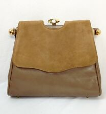 Women's Vintage Beige Leather w/Gold Hardware Shoulder Bag