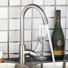 Brushed Nickel Kitchen Sink Bar Swivel Faucet Hot&Cold Mixers Taps Deck Mounted