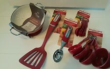 Kitchen Utensils Red Set Colander Spatula Scoop Measuring Cups/Spoons
