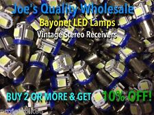 (6) SIX BAYONET LED LAMP 6.3V/AC/COOL BLUE-Mc/Mac-AMP/STEREO/BA9s/ MR-77 MR-78