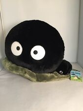 My Neighbor Totoro Large Dust Bunny Soot Sprite Plush & Mini Soot On Green Leaf