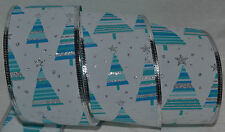 Wired Ribbon~Jazz Christmas Tree~Blue~White~Silver Star~Wreath~Holiday~Gift~Bow