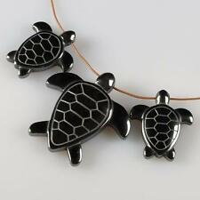 g1747 Hematite turtle pendant beads set