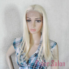 Hand Tied Lace Front Full Wigs Glueless Synthétique Perruque Blond 96#613