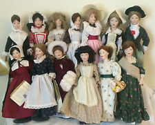 """Franklin Porcelain Dolls """"The Little Maids of the 13 Colonies"""" COMPLETE set 1984"""