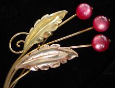 Vintage VAN DELL Gold Filled STERLING Floral Brooch~PINK Moonglow Berry PIN,fjt