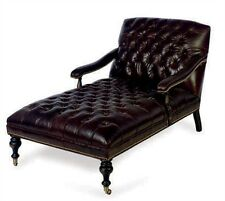 """BROWN LEATHER BUTTON-TUFTED """"Madeline"""" CHAISE LOUNGE"""