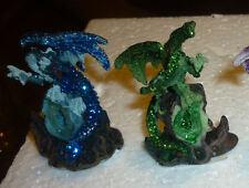 DRAGO CRISTALLI VERDE o BLU dragone soprammobile fantasy gotico modellino gioco