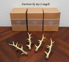 NEW Pottery Barn Holiday ANTLER Napkin Rings Holders SET/12  GOLD - SOLD OUT