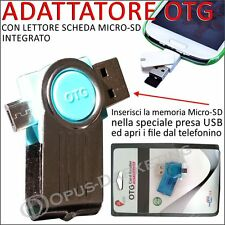 ADATTATORE OTG LETTORE USB SCHEDA MICRO SD HC PER Samsung Galaxy NOTE 10.1