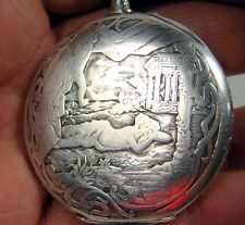 Old French Men's pocket watch Solid Silver Engraved Nude by FRAINIER Extraplate