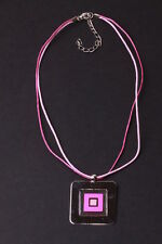 ADJUSTABLE PINK DOUBLE-STRING CHOKER 3.5 CM SQUARE PENDANT (ZX18)