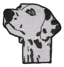 Iron On Patch Applique Dalmatian Dog's Head Shot Embroidered Black & White Spot