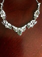 GIVENCHY Gray Crystal Faux Opal  Silver Tone Frontal Necklace NWT $125