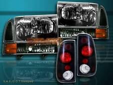 99-04 FORD F250/F350 SUPER DUTY HEADLIGHT BLACK + CORNER BLACK+ TAIL LIGHT BLACK