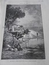 Gravure 1876 - Le Sakieh système d'irrigation usité en Egypte