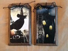 5 Wooden Halloween Hang Tags,SPOOKY Ornaments,Halloween Bowl Fillers SET9P1