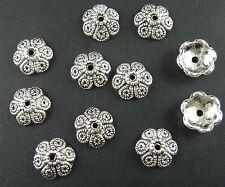 120pcs Tibetan Silver Flowers Charm Spacer Beads 11x4mm