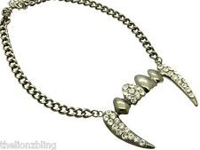 Grey Chunky Chain Necklace with Vampire / Dracula Fangs Crystal Bling Pendant