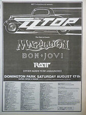 "ZZ TOP,BON JOVI,MARILLION DONINGTON PARK 1985 N.M.E. ADVERT,PICTURE,10.5"" X 7.5"""