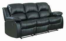 Recliner 3-Seater Sofa Black Over Stuffed Bonded Leather Chair