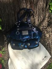 COACH Limited Ed MIDNIGHT BLUE POPPY SEQUIN FASHION SPOTLIGHT TOTE PURSE BAG WOW