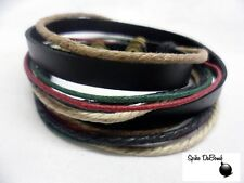 PUNK/ SURFER WHITE, BROWN, GREEN, RED & BLACK CUFF SNAP BRACELET *NEW* #SUMMER