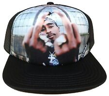 2PAC TUPAC SHAKUR MIDDLE FINGERS FOAM MESH TRUCKER SNAPBACK HAT CAP SUBLIMATION