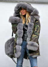 NEW Military/Army Cameo Parka Coat Fully Lined with 100% Grey Fox Fur SMALL 8-10