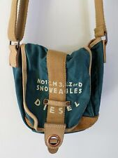 DIESEL Snoweagles green cotton tan leather military cross body shoulder bag