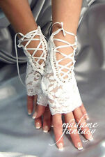 SEXY WHITE LACE UP TIE FINGERLESS GLOVES