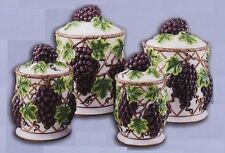NEW KITCHEN 4PC TUSCAN PURPLE GRAPE GRAPES CANISTER SET COOKIE JARS