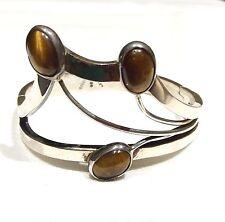 Vtg Mexico Sterling Silver Tiger's Eye Deco-Mod Clamper Bracelet 51 Grams TAXCO