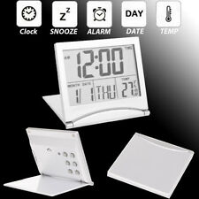 Digital LCD Travel Folding Alarm Clock with Snooze Thermometer Calendar Timer