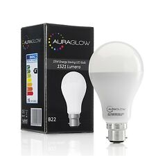 AURAGLOW 15w LED B22 Bayonet Light Bulb, Warm White, 1521 Lumens - 100w EQV