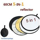 New 60cm 5 in 1 Photography Studio Collapsible Reflector Light Mulit Disc Kit