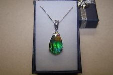 "AMMOLITE PENDANT  22X13mm PEAR SHAPE SET IN STERLING W/ 18"" STERLING CHAIN"