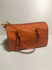 Authentic Brooks Brothers Ostrich Leather Zip Lock Barrel Handbag  Orange $1498