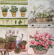 set of 4 DESIGNS PAPER NAPKINS COLLECTION for DECOUPAGE flowers FREE SHIPPING