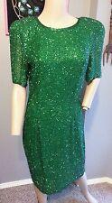 Vtg Blacktie Oleg Cassini St. Patricks Day Green Beaded Trophy Drag Dress 8