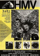 22/6/91 Pgn49 Advert: baby The New Album From Yello In Hmv Stores Now 15x11