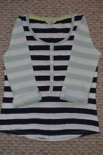 Lovely Boden Women's White/Blue Striped Breton/Raglan Top UK10 VGC