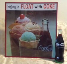 VINTAGE NOS 1970's FRAMED COKE AD PAPER SIGN & FREE 26 oz COKE COLLECTORS BOTTLE