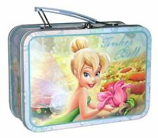DISNEY TINKER BELL EMBOSSED Storage Tin Lunch Box Gift Bag Pencil Crayons Case
