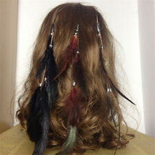 1Pc Boho Indian Rooster Feather Headwear Wigs Clip in/on Hair Extension hippie