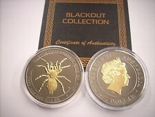 2015 1 OZ SILVER PERTH MINT AUSTRALIAN FUNNEL WEB SPIDER BLACKOUT COLLECTION