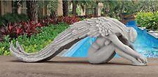 Elegant Protective Flowing Wings Heavenly Angel Garden Centerpiece Sculpture
