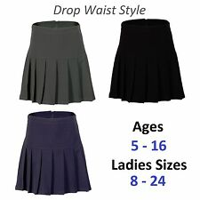 Girls Womens Pleated School Skirt Drop Waist Grey Black Navy Ages 5-16 Size 6-24