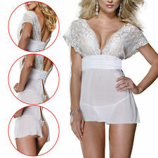 Ladies Lingerie Underwear Sleepwear Babydoll+G String Lace Dress Large