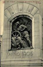 Ostende Belgien alte AK ~1910/20 Le Timonier Bas Relief au Pont Desmet de Nayer